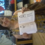 The lovely Miss Lesley posing with her illustrative self in Wish You Were Here